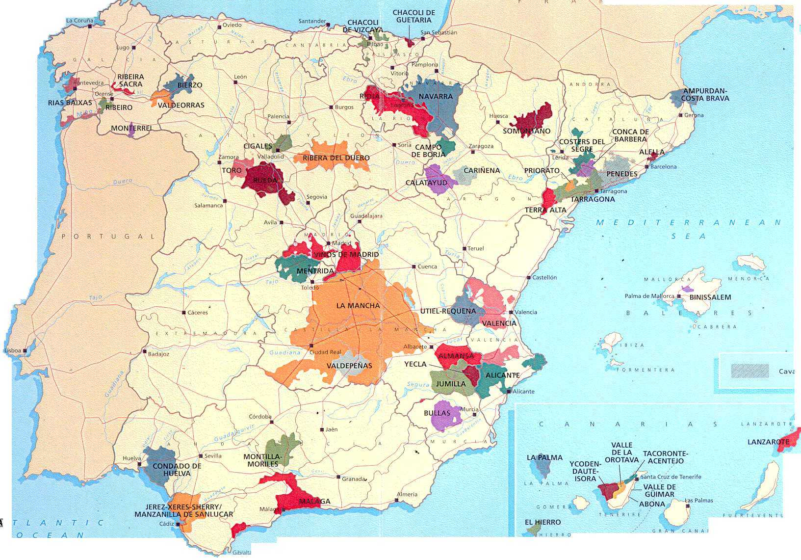 Large Wine Map Of Spain - Large map of spain